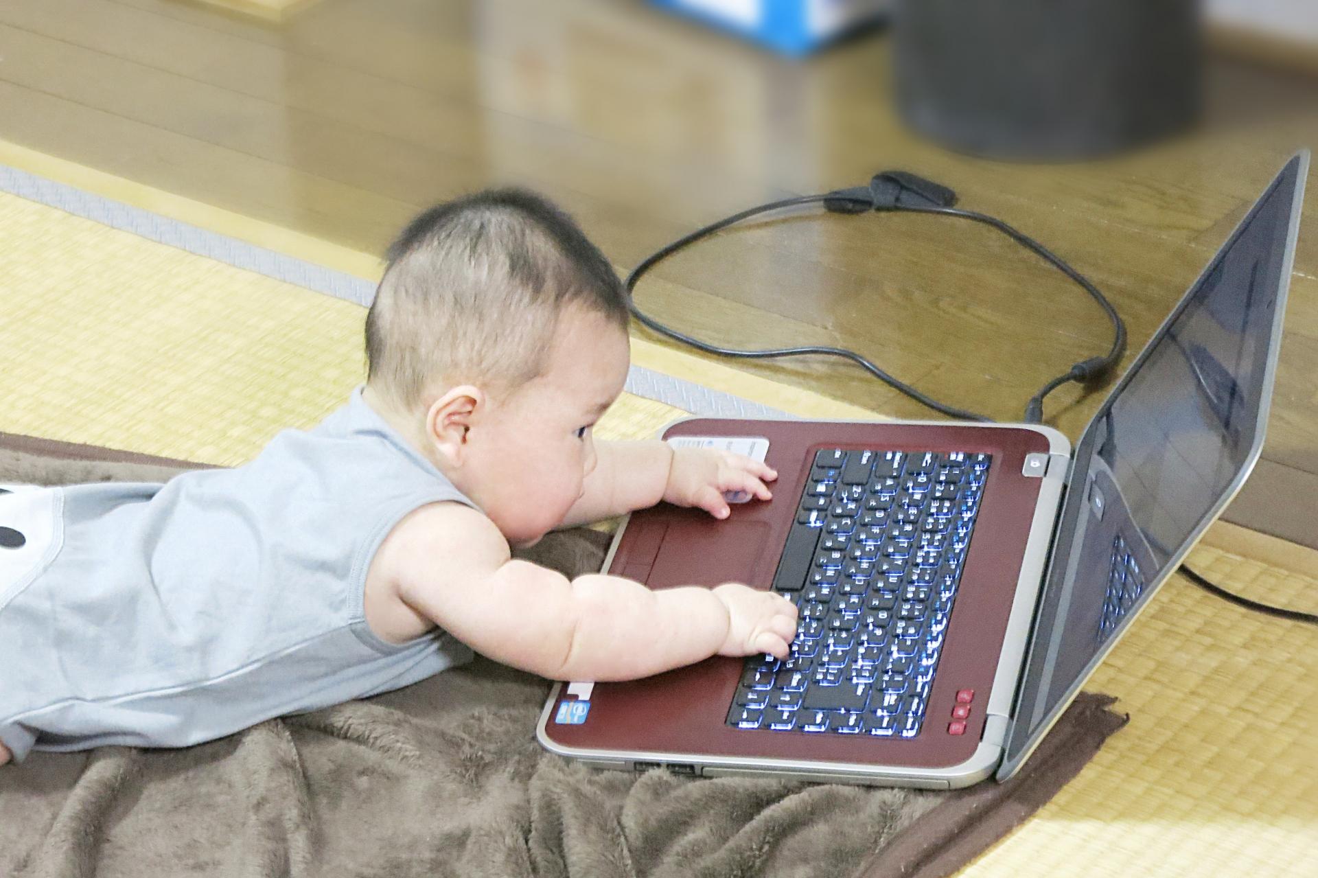 パソコンに興味を持つ赤ちゃん