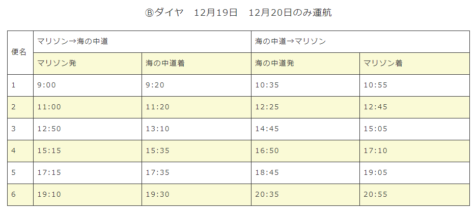 うみなかライン時刻表2